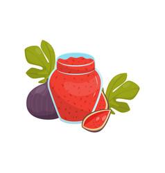 glass jar of fig fruit jam on vector image