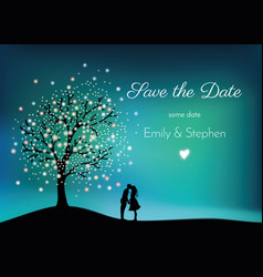 Glowing tree on the night sky with pair in love vector
