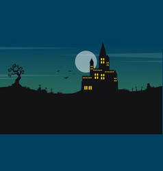 halloween landscape castle and moon vector image