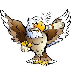 Hand-drawn an eagle playing baseball vector