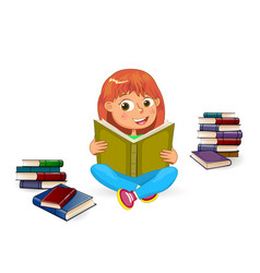 happy girl reading book vector image