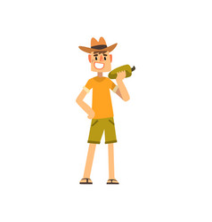 happy male farmer character cheerful gardener vector image