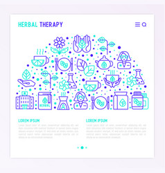 herbal therapy concept in half circle vector image