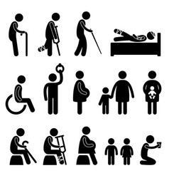 In need of priority old pregnant disable baby vector