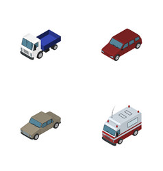 Isometric transport set of first-aid car auto vector