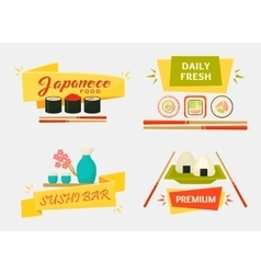 Japanese sushi and rolls wooden chopsticks vector