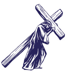 Jesus christ son god carries cross before vector