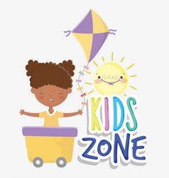 kids zone cute little girl in wagon with kite vector image