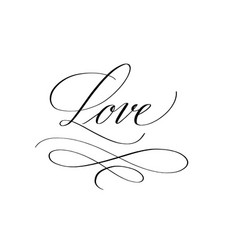 love pen ink calligraphy romance design vector image