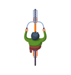 male cyclist riding bike view from above flat vector image