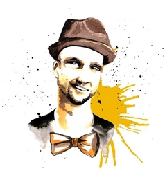 Man ink hipster vector image