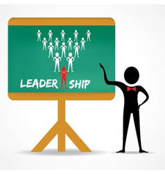 Man points to leadership concept on green board vector
