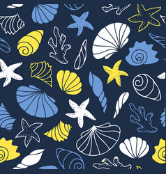 Marine seamless pattern vector