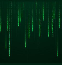 matrix stream binary code on screen falling vector image