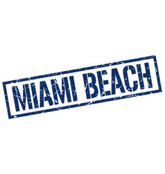 miami beach blue square stamp vector image