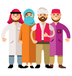 Middle eastern group of people flat style vector