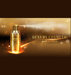 Mist spray cosmetic bottle ad banner promo poster vector