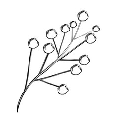 Monochrome blurred silhouette of branch with vector