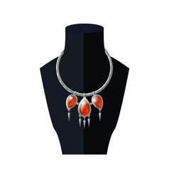 necklace with precious red stones black mannequin vector image
