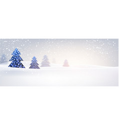 new year banner with christmas trees vector image
