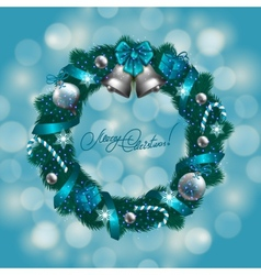 New Years background - a wreath of fir branches vector image