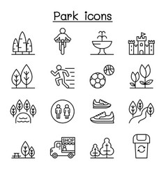 Park icon set in thin line style vector