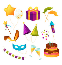party icons birthday festival and carnival event vector image