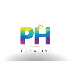 Ph p h colorful letter origami triangles design vector