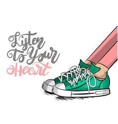 Pop art cartoon woman sneaker listen heart vector