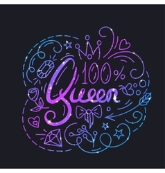 Queen Text Poster vector image