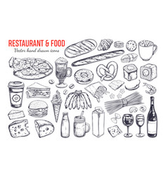 restaurant and food big set 2 vector image