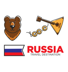 russia travel symbols for russian tourist vector image