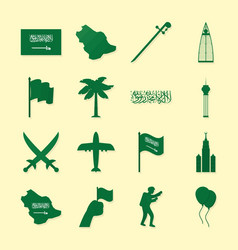 Saudi national day set vector