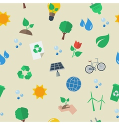 Seamless eco flat icon pattern vector image