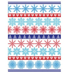 Seamless pattern including vary snowflakes shapes vector