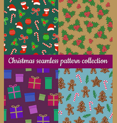 set of colorful winter holidays christmas vector image