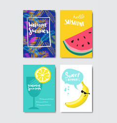 set summer fruits badge isolated typographic vector image