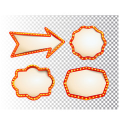 shining isolated retroset bulb light frames arrow vector image