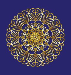 simple gold circular pattern on dark blue backdrop vector image