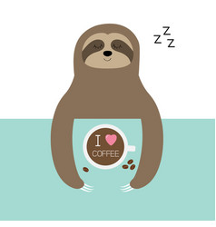 sloth sleeping i love coffee cup sleep sign zzz vector image