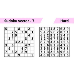 sudoku game with answers simple design set vector image