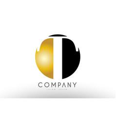 T black white gold golden letter logo design vector