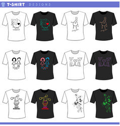 T shirt decorative designs concept set vector