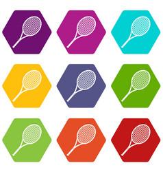 tennis racket icon set color hexahedron vector image