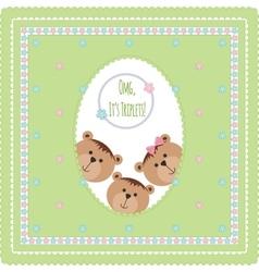 Three happy baby triplets vector image