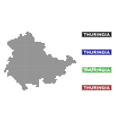 Thuringia land map in dot style with grunge vector