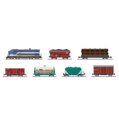 train freight wagons railway cargo containers vector image