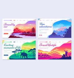 Travel car traveling lifestyle set websites vector