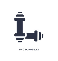 Two dumbbells icon on white background simple vector