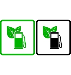 Two green gas station icons vector